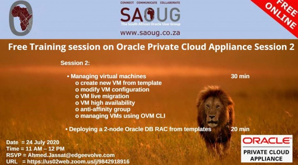 Ahmed Jassat: South African Oracle User Group Training session on Oracle Private Cloud Appliance: 2