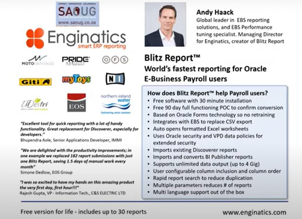 South African Oracle User Group : Maximize your EBS capability with Blitz Reports