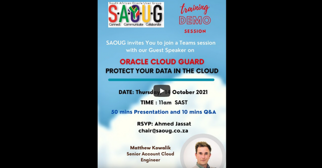 South African Oracle User Group : Demonstration on Oracle Cloud Guard